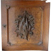 Antique wall hung carved Black Forest Victorian Era panel with dead game birds