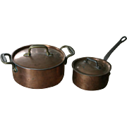 Pair of antique copper lidded pots or pans, including one French Havard