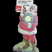 vintage 1960's cardboard Coca Cola Santa store die cut display sign or easel