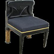 vintage Mid Century Modern black lacquer and burl veneer low vanity chair