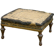 Antique Victorian Era low footstool with walnut carved turned feet