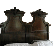 Antique 1800's carved wooden French King (2 Twin) sized headboard
