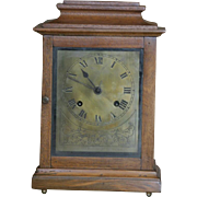 rare early 1900's oak case and brass dial British made Jerome mantle clock