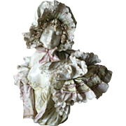 Stunningly beautiful signed Turn Teplitz Bohemia fancy lady porcelain bust