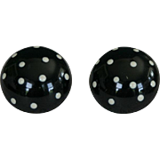 Vintage pair of large black and white polka dot earrings