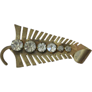 Vintage brass leaf shaped pin brooch with clear cut rhinestones