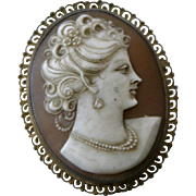Antique Victorian Era gold over Sterling silver cameo shell pin brooch