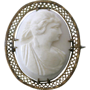 Antique Victorian Era filigree carved Lava stone lady cameo pin brooch