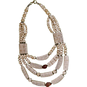 Vintage chunky bone and stone tribal necklace