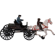 Vintage painted cast iron toy police chief's wagon with horse