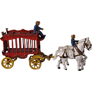 Vintage painted cast iron toy circus animal wagon and horses