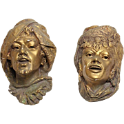Antique pair of chalkware cigar store Orientalist heads for display