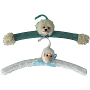 Rare Pair of Nursery Hangers, Teddy & Monkey