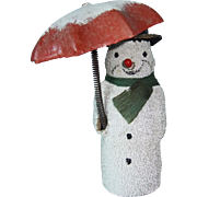 Edwardian Snowman Decoration with Umbrella That Changes Position