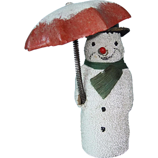 Edwardian Snowman Decoration with Umbrella That Changes Position