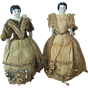 Fabulous Pair of Antique Glazed China Head Dolls