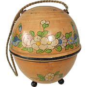 Vintage Wooden String/Wool Box with Pretty Flower Decoration