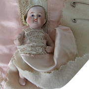 Antique Kestner All-Bisque Baby Doll, 4.25 inches, with Diaper/Nappy Pin Holder
