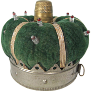 Vintage Crown-shaped Pin Cushion with Thimble and Integral Tape Measure