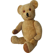 English-Made Mohair Teddy Bear, Circa 1950, with Working Growler