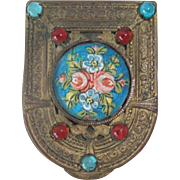 Tiny French Gilt Brass & Enamel Compact, Late 19th Century