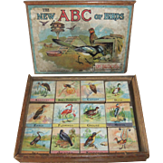 Antique Wooden ABC of Birds Blocks