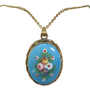 Vintage Ceramic Pendant Hand Painted with Floral Spray