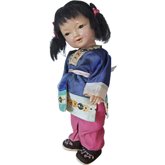 Adorable Composition Oriental Doll with Poseable Head