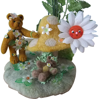 Exquisite One-of-a-Kind Miniature Bear Scene 'Asleep Under the Daisy'