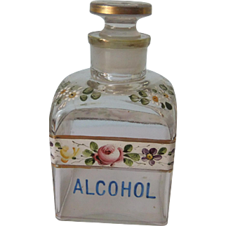Antique Bohemian Glass Bottle with Stopper, marked Alcohol