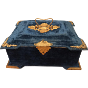 Stunning 19th Century French Velvet Sewing Box with Accessories - Red Tag Sale Item