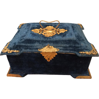 Stunning 19th Century French Velvet Sewing Box with Accessories