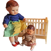 Delightful Pair Vintage Rubber Dolls House Dolls, Mother and Baby, with Cot