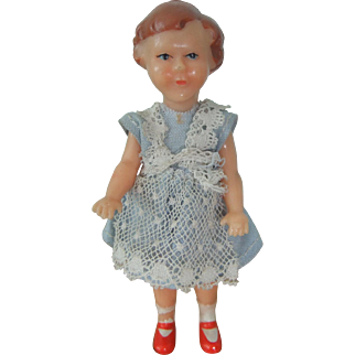 Pretty Plastic Dolls House Doll, Jointed at Arms and Legs