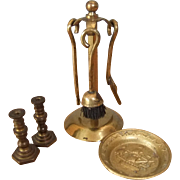 Vintage Miniature Brass Fire Irons, Candlesticks and Galleon Charger