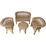 Superb Vintage Set of Larger Scale Dolls' Rattan/Wicker Furniture - Sofa, Two Armchairs & Table