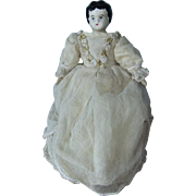 Vintage China Head Doll, 8 inches, in Gorgeous Wedding-Type Dress