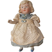 Pretty Miniature All-Bisque Doll, 3.75 Inches
