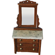 Miniature Marble-Topped Dressing Table with 3 Drawers & Tilt Mirror, 1910 to 1920
