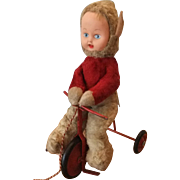 Vintage Pixie Doll Riding a Tricycle, Made by Chiltern Toys Circa 1960
