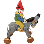 Vintage Wooden Pull-along Clown on Donkey Toy