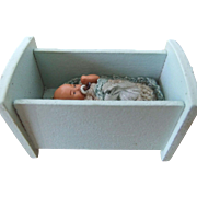 Tiny Baby Doll With Pacifier in Wooden Cot, Made in Germany