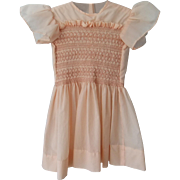 Pretty Vintage Peach Smocked Dress Suitable For Toddler or Doll