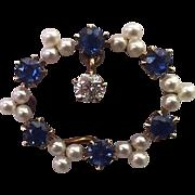 "Vintage 14k Yellow Gold, Diamond, Sapphires, & Pearls ""Watch Pin"" Brooch"