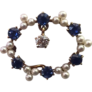"Vintage 14k Yellow Gold, Diamond, Sapphires, & Pearls ""Watch Pin"" Brooch"