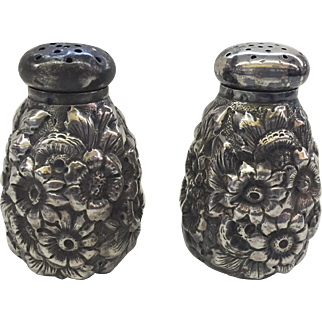 Antique Sterling Silver Repousse Salt & Pepper Shakers by George W. Shiebler & Co., New York