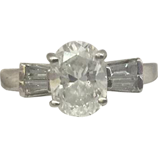 Stunning Vintage 1940's Platinum 1.25ct Oval-Cut Diamond Engagement Ring, F Color, VS-1 Clarity