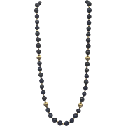 "Vintage Single Strand Lapis Lazuli 24"" Beaded Necklace with 14k Yellow Gold Findings"