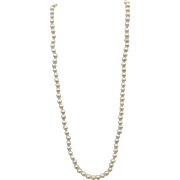 """Vintage 22"""" Single Strand of Baroque Pearls, 6-6-1/2mm, with 14k Yellow Gold Clasp"""