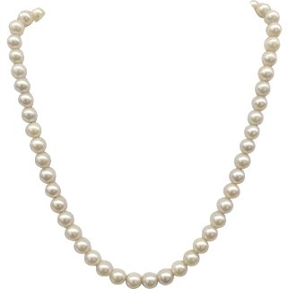 "Vintage 6-7mm Cultured Pearls 15"" Single Strand Choker Necklace with 14k White Gold Clasp"